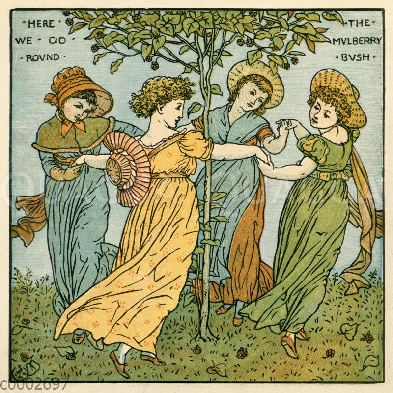 Junge Frauen tanzen um einen Maulbeerbaum
