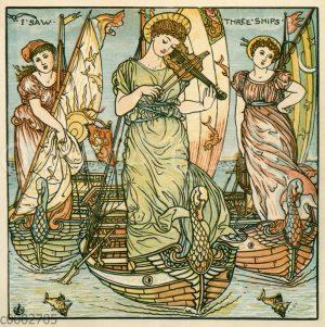 Drei junge Frauen auf Booten: 'I saw three ships'
