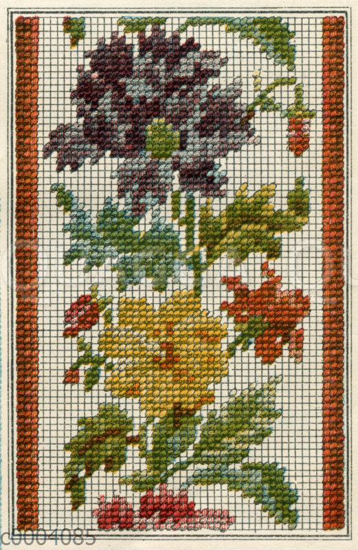 Stickmuster: Bordüre mit Blumen