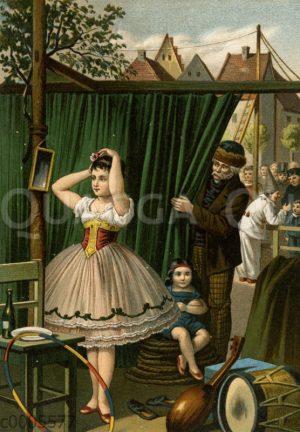 Zirkusartistin bereitet sich auf ihren Auftritt vor