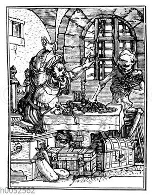 Der Geizhals. Aus dem Totentanz von Hans Holbein d.J.