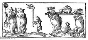 Satirisches Steinbild auf die missratenen Priester
