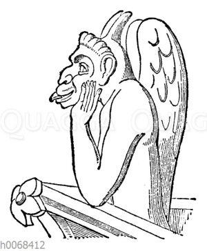 Der Böse. Nach einer Steinfigur an der Pariser Notre-Dame-Kirche
