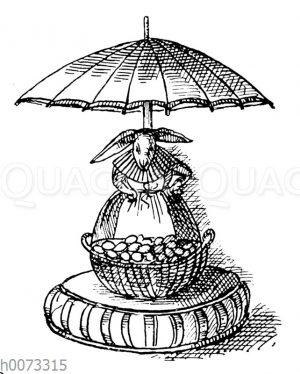 Osterhase als Marktfrau