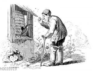 Alter Mann verscheucht einen Vogel vom Bienenkorb