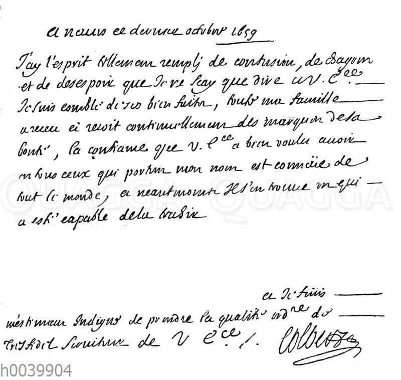 Brief Jean Baptiste Colberts an den Kardinal Mazarin (Anfangs- und Schlusszeilen)