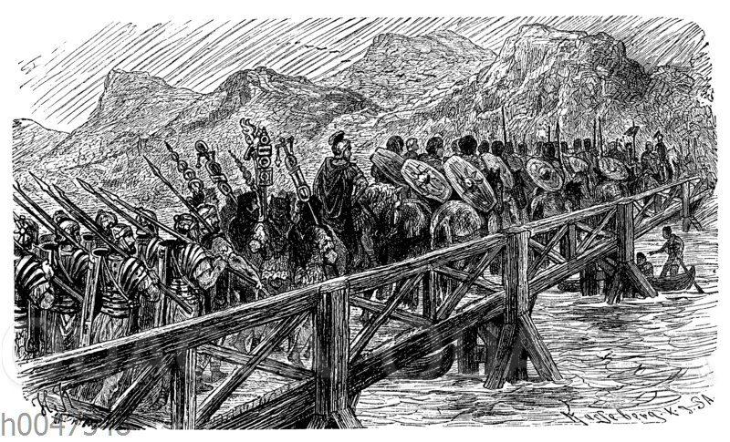 Rekonstruktion eines römischen Rheinüberganges unter Cäsar