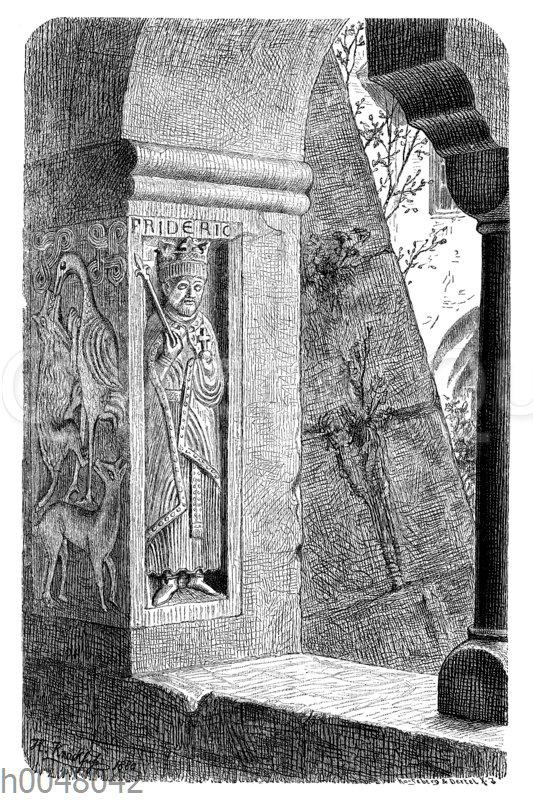 Steinbildnis Friedrich Barbarossas am Eckstein eines Fensters im Kreuzgang des Klosters S. Zeno bei Reichenhall in Bayern