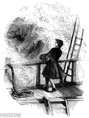 Robinson Crusoe in Sturm auf dem Schiff