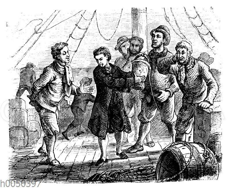Robinson Crusoe auf dem Schiff
