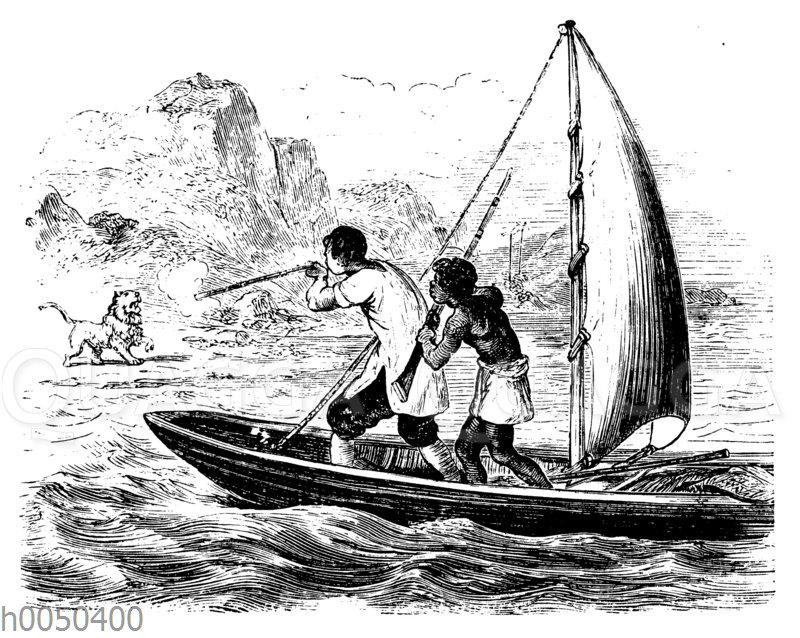 Robinson Crusoe auf der Flucht mit einem Segelboot