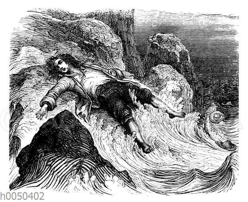 Robinson Crusoe wird an die Küste geworfen