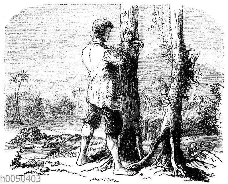 Robinson Crusoe an seinem Kalender