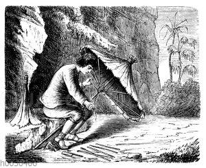 Robinson Crusoe macht sich einen Sonnenschirm