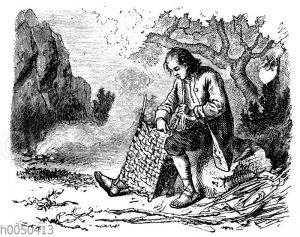 Robinson Crusoe bei der Korbmacherei