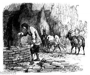 Robinson Crusoe beim Bau eines Herdes