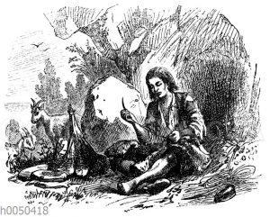 Robinson Crusoe als Schneider