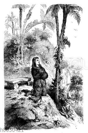 Robinson Crusoe in seinem Tempel