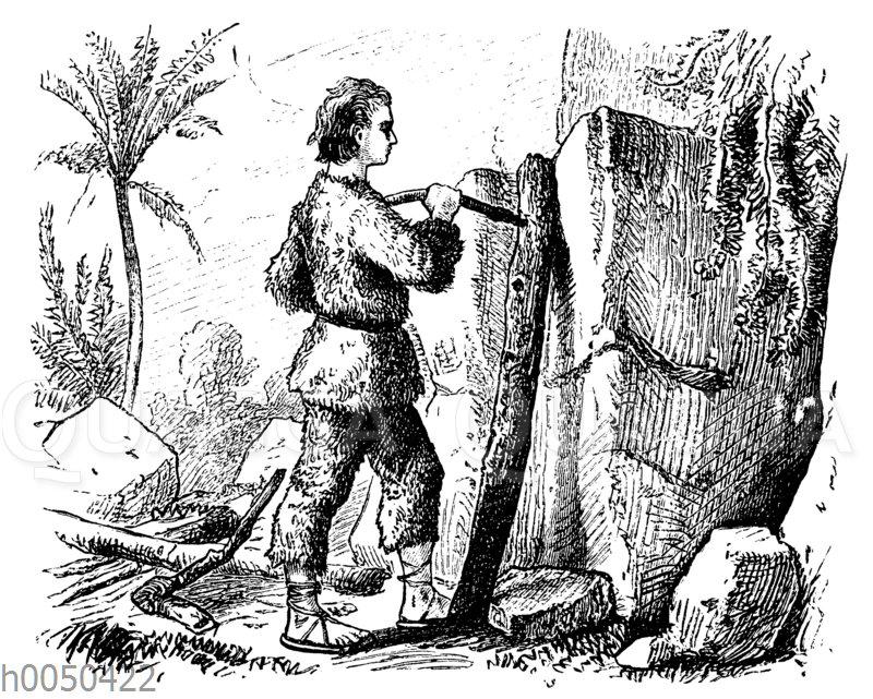 Robinson Crusoe und der Feuerbohrer