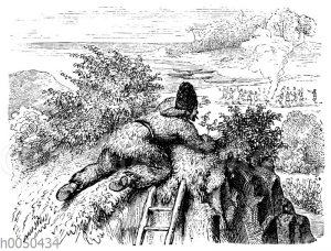Robinson Crusoe beobachtet die Wilden