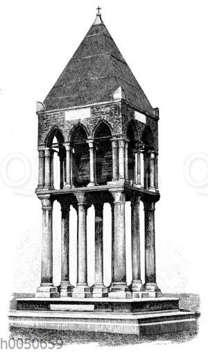 Mittelalterliches Grabmal des Guelfenhauptes Rolandino Passegieri in Bologna