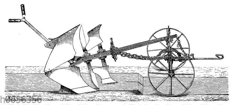 Wendepflug mit zwei übereinander stehenden Pflugkörpern von R. Sack