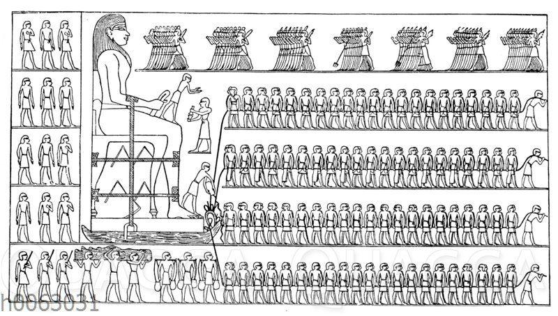 Transport des Standbildes des Dhuthotep durch die Krieger und die Stadtbewohner des Hasengaues