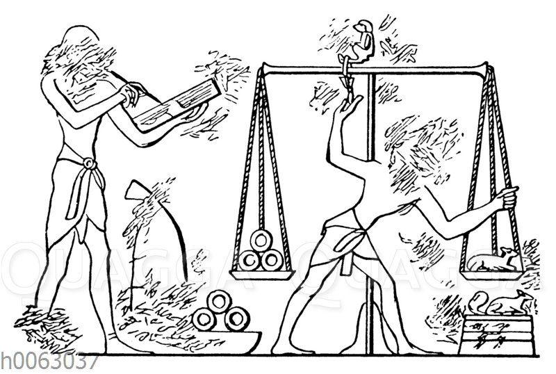 Wiegen von Goldringen mit Hilfe von tierformigen Gewichten im alten Ägypten
