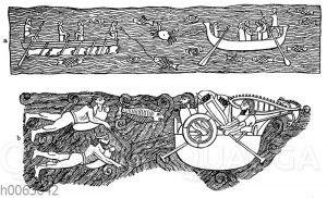 Flussübergang in einem Boot mit Schläuchen (oben) und Flussübergang auf Schläuchen (unten) im alten Assyrien