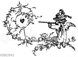 Vignette: Nackter Amor schießt auf Zielscheibe