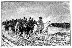Napoleon Bonaparte reitet seinen Truppen voraus