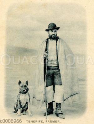 Mann aus Teneriffa mit Umhang und Hund (Dogo Canario)