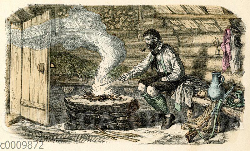 Jäger wärmt sich an Feuer in einer Berghütte