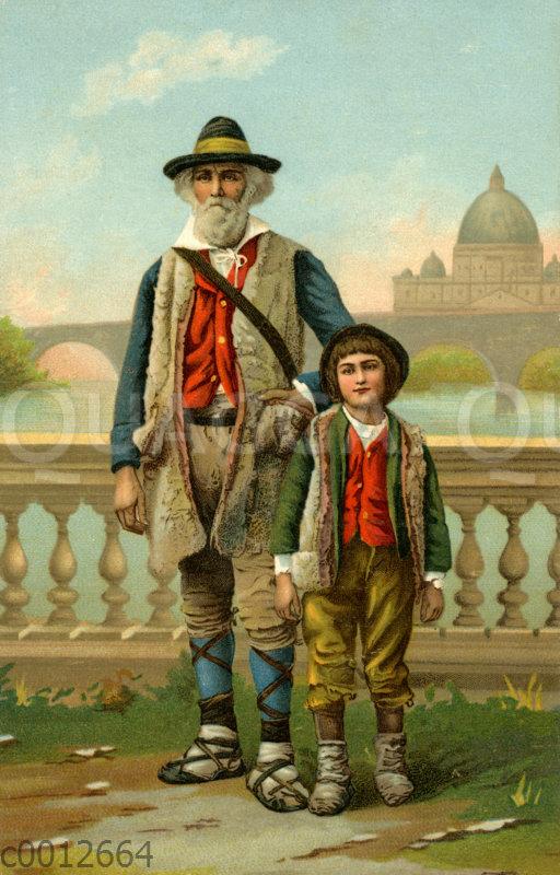 Alter Mann und Junge aus Venedig in traditioneller Kleidung