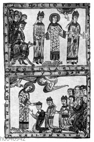 Kaiserin Kunigunde läuft über glühende Pflugscharen zum Beweis ihrer Treue gegenüber ihrem Mann Kaiser Heinrich II.