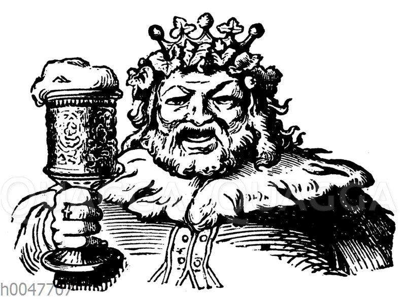 König mit einem Glas Bier