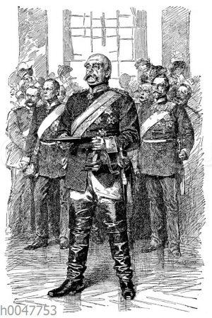 Bismarck verliest am 18. Januar 1871 die Verkündigung des Deutschen Kaiserreichs im Spiegelsaal des Schlsosses Versailles