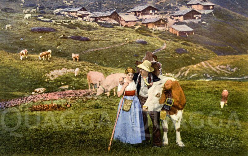 Schweizer Alpenlandschaft mit Kuhhirten