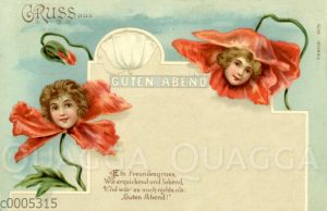 Frauenköpfe in Mohnblüten