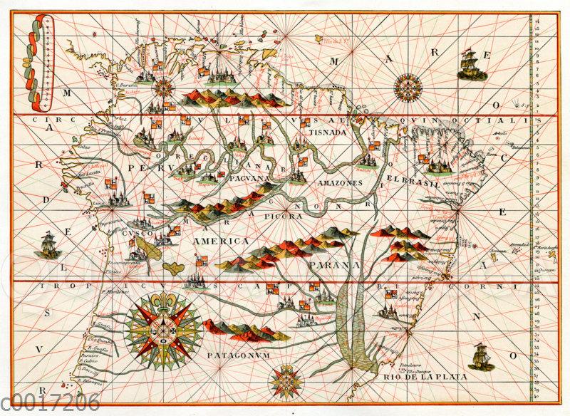 Ausschnitt aus einer Karte von Amerika aus einem spanischen Atlas von 1582