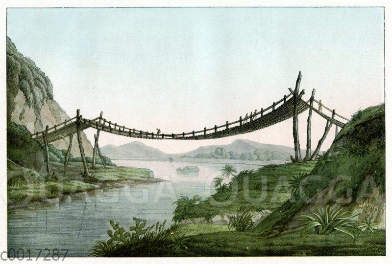 Südamerikanische Seilbrücke. Nach einer Zeichnung von Alexander von Humboldt