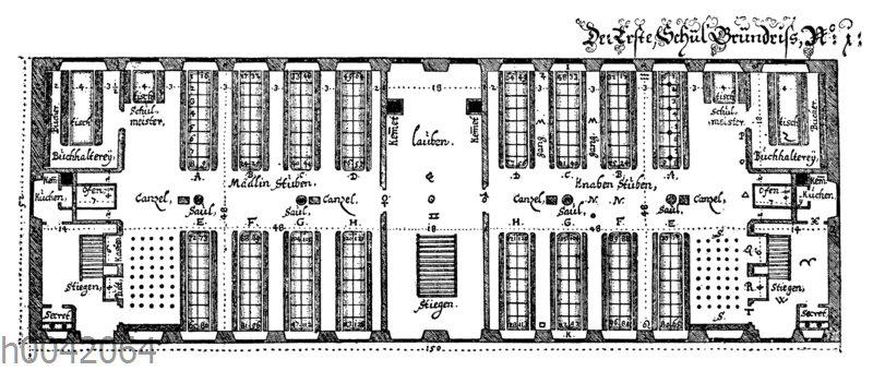 Grundriss einer Schulstube im 17. Jahrhundert