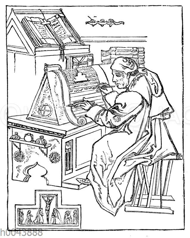 Schreibender Mönch in seiner Zelle