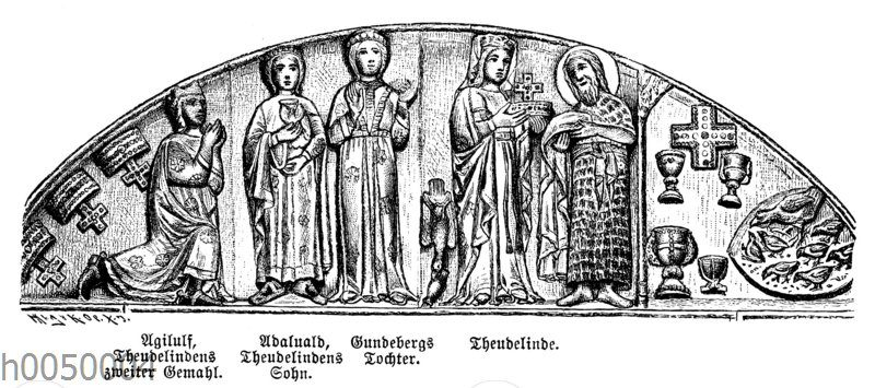 Langobardenkönigin Theudelinde bringt dem heiligen Johannes Weihgeschenke dar. Relief vom 595 von ihr gestifteten Dom zu Monza. Personen (von links): Agilulf (2. Ehemann Theudelindes)