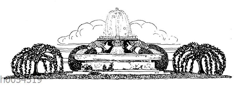 Vignette: Park mit Springbrunnen
