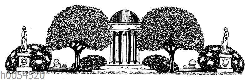 Vignette: Park mit Gebäude und Statuen