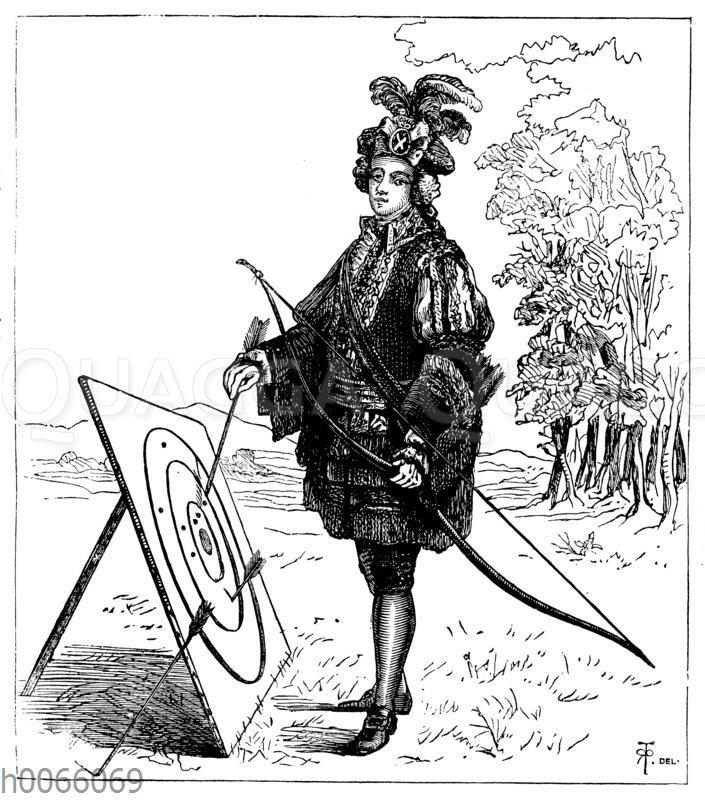 Schottischer Bogenschütze von der königlichen Garde