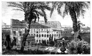 Rom: Colosseum und Constantins-Bogen vom Palatin aus