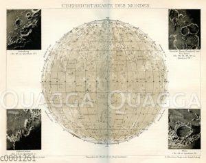 Übersichtskarte des Mondes mit Mondkratern