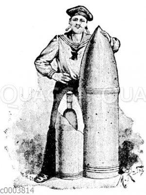 Stahlpanzergranate: Größe im Vergleich zu einem Matrosen